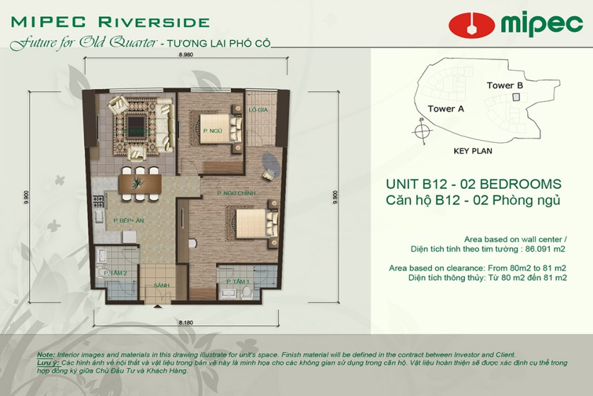 Apartment in Mipec Riverside for rent with 2 bedrooms, river view