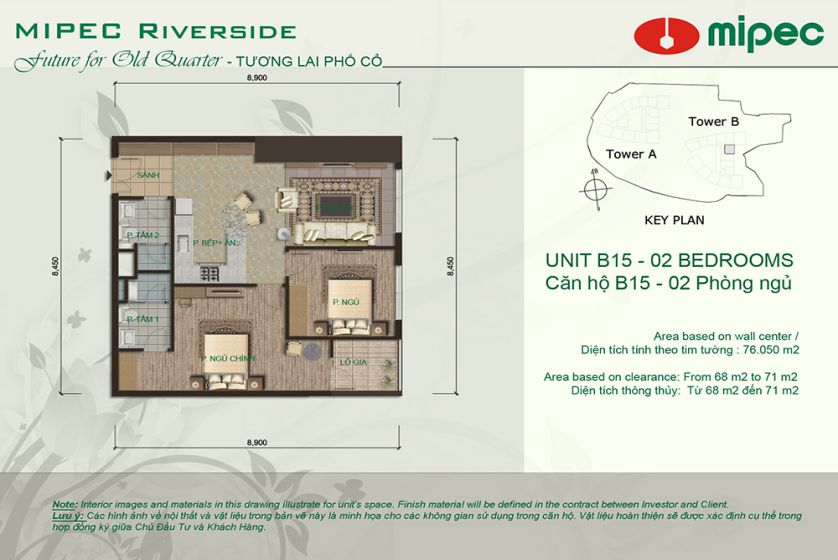 Mipec Riverside apartment with 2 bedrooms for rent, lake view