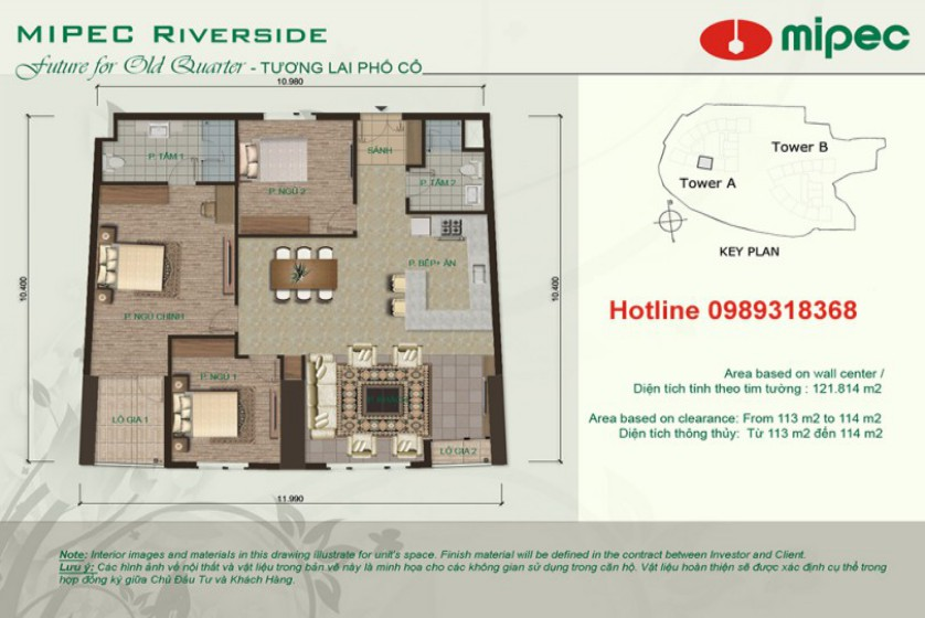 Red river view Mipec Riverside apartment with 3 bedrooms, 125m2